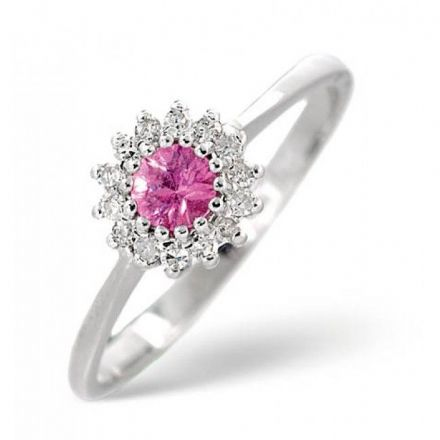 18K White Gold 0.07ct Diamond & 3.5mm Pink Sapphire Ring, DCR06-PSW